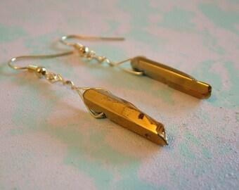 Golden Crystal Dangling Earrings