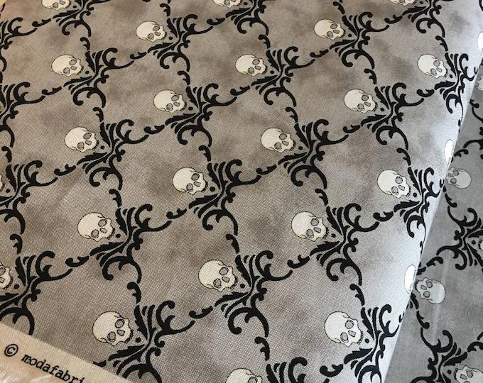 Halloween fabric, Halloween Decor, Halloween party fabric, Eerily Elegant by Moda, Halloween Fancy Skulls Gray, Choose the cut