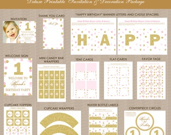 Pink and Gold 1st Birthday Printables Package, Pink & Gold Decorations, Polka Dots, Gold Glitter, Printable, Personalized for any age