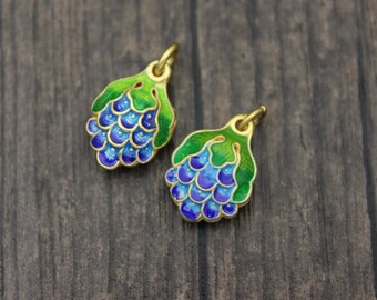 1PC Sterling Silver Grape Charm with blue and green enamel, Cloisonne Grape Charm, Colorful Grape Charm