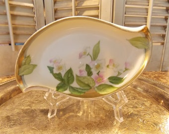 TRINKET DISH - BAVARIAN Hand Painted Porcelain Bone China Trinket Dish, Vanity / Dresser Tray, Candy / Nut Dish