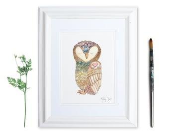 Owl Watercolor Art | Self Love Bird Illustration | Zen Animal Print | Chakra Owl Meditating Art | Owl Lover Gift | Gifts for Yogi
