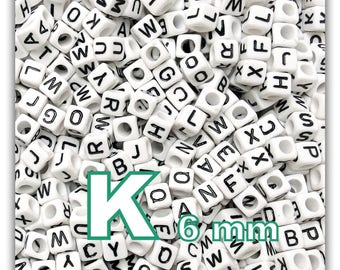 """cube alphabet """"K"""" 6mm - letter beads 50 beads"""