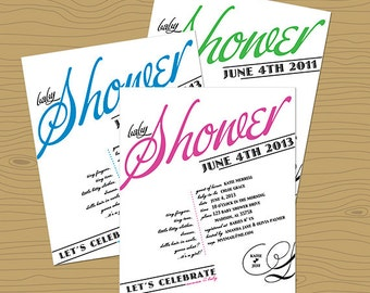 Vintage Style Baby Shower Invitation - Customized Baby Shower Invitation - Calligraphy Style Baby Shower Invitation