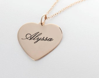 Bridesmaids Name Necklaces Heart Shaped Engraved