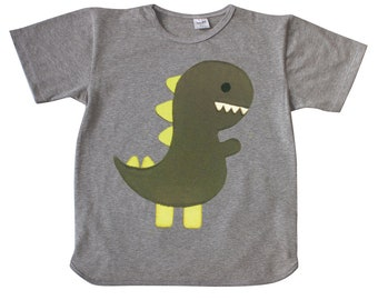 T-shirt, short sleeve, boy, girl, baby, cotton, gray, dino, dinosaur