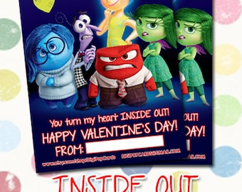 Inside Out Valentine's Day Instant Download - Printable 4x6 Valentine's Day Hand Out - INSTANT DOWNLOAD