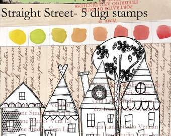 Whimsical neighborhood of funky houses - digi stamp set available for instant download