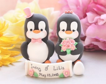 Unique Penguins with banner and egg - custom wedding cake toppers love birds personalized pink names baby pregnancy expecting baby gift mum