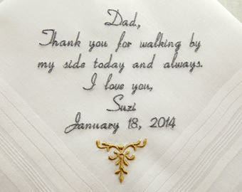 Embroidered Wedding Handkerchief for Father of the bride Gift Personalized Handkerchief Wedding Gift Napa Embroidery