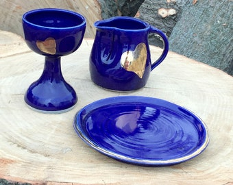 Blue and Gold Heart Communion Set Chalice Paten Pitcher Handmade Pottery by Daisy Friesen