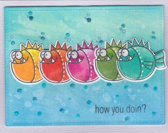 how you doing'? Rainbow, Fish, handmade cards
