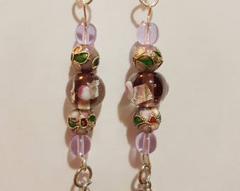 Pinkish purple floral drop earrings