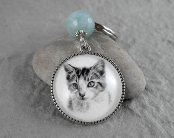Kitten Key Ring, Pet Drawing, Pet Gift, Cat Keychain, Cat Art, Cat Portrait Keychain, Gemstone Keychain, Kitten Keychain, Cat lover Gift