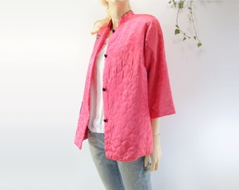60s Quilted Jacket Bed Jacket L Kimono Jacket Vintage Quilted Jacket Asian Nehru Jacket L