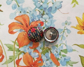 Wholesale Button Earrings / Mosaic / Small Stud Earrings / Fabric Covered / Made in America / Unique Gifts / Bridesmaids Jewelry