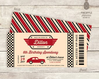 Vintage Inspired Race Car Birthday Party Invitations - Colors Used: Cream, Black, and Crimson