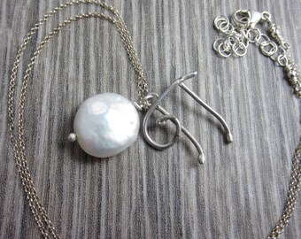 Pilcrow Symbol Necklace in Sterling Silver with Coin Pearl