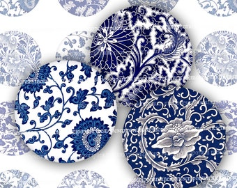 Blue and White Circles Asian Digital Download Printable Clipart Chinese Floral Pattern Designs for Magnets Knobs Decoupage Two 2 Inch 804