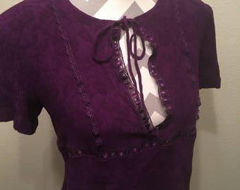 Vintage 90's purple boho crop top