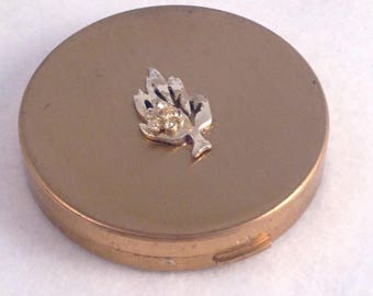 Vintage 1950s Volupte compact 1950s goldtone rhinestone compact box Mid Century