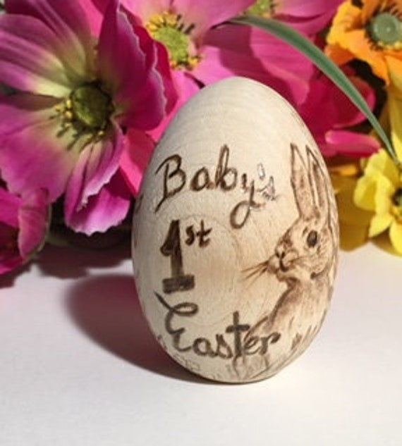 Wooden easter egg babys first easter easter gift for kids like this item negle Image collections
