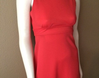 Vintage Women's 60's Dress, Coral, Formal, Full Length, Mod, Gown (S)