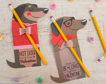 Weenie Dog Valentine Printable Dachshund Puppy weiner dog Non Candy, Pencil valentine, bubble valentine, glow stick valentines, candy hugger