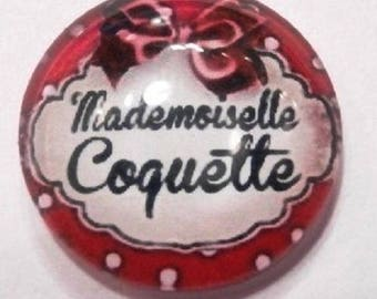 cabochon mademoiselle coquette rouge  25mm