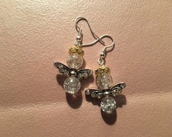 Earrings, dangle, clear angel with silver wings and gold rhinestone halo on sterling silver hooks.