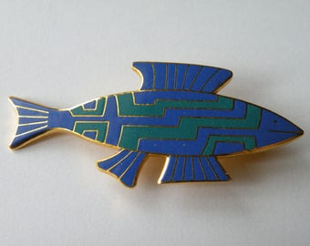 "Laurel Burch ""Fish "" enamel brooch pin."