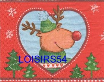 Reindeer and trees 33 cm x 33 cm paper towel
