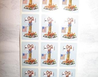 Vintage Patriotic American Flag Stickers Set of 12