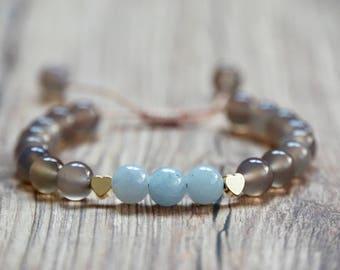 Semi-Precious Angelite Blue Jade Bracelet