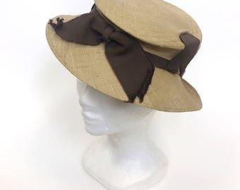 Vintage 1940s straw and brown tilt fedora hat