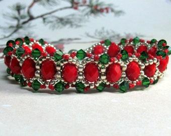 Beaded Christmas Bracelet, Swarovski Bracelet, Christmas Bracelet, Red Bracelet, Green Bracelet, Holiday Bracelet,  Christmas Jewelry