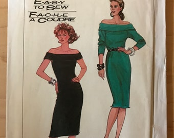Simplicity 8158 - 1980s Easy to Sew Off the Shoulder Dress in Knee Length with Sleeveless or Long Sleeve Option - Size 6 8 10 12