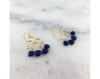 Afghan Lapis AAA Genuine Natural Briolettes Wire Wrapped with 14k Gold Filled Wire on 22k Gold Vermeil Chandelier Statement Earrings