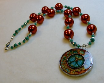 CLEARANCE-Autumn Harvest-crystal and pearl necklace with resin pendant, 18 inches or 46 cm