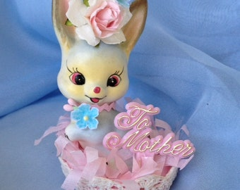 Mother's Day Decoration Vintage Shabby Chic Bunny Rabbit Figurine Mother's Day Ornament forEaster Party TVAT