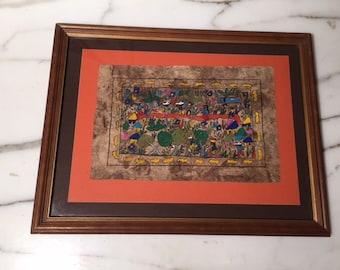 Vintage Original Mexican Bark Painting Framed Folk Art Mexico