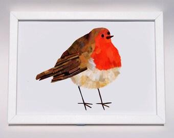 Robin art, Robin print, Cute bird art, Paper collage robin wall art, Bird lover birthday gift, Unique bird art, Bird print art