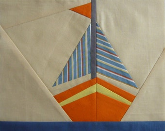 Sailboat quilt pattern,  paper pieced block,  sea quilt block, instant download PDF, sailboat design, paper piecing