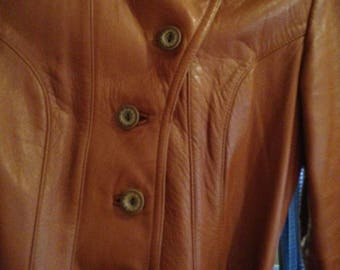 Vintage 1970's Soft Tan Leather Trench Coat