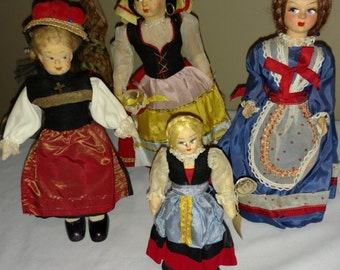 Family of Four Vintage Cloth Dolls, Eros, Abruzzi