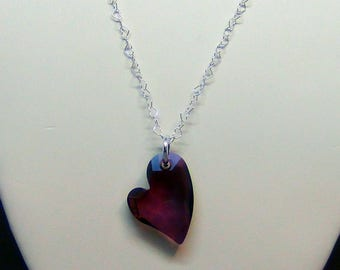 """Devoted 2 U Swarovski Crystal Heart Pendant - Crystal Lilac Shadow, Sterling Silver Heart Chain - 18"""" + 2""""  - Hand Crafted Artisan Jewelry"""