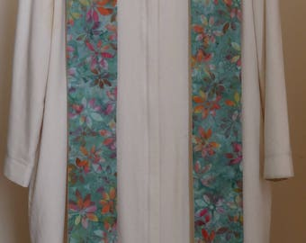 Clergy Stole:  Light Green with Colorful Leaves