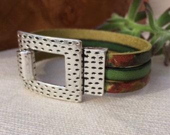 Triple strand bracelet   Leather bracelet   Buckle bracelet   Cuff bracelet   Women gift   Indie cuff   Sundance style   Women leather