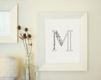Floral Letter M - Monogram Wall Art Printable - Floral Typography Print - Botanical Gallery Wall Art