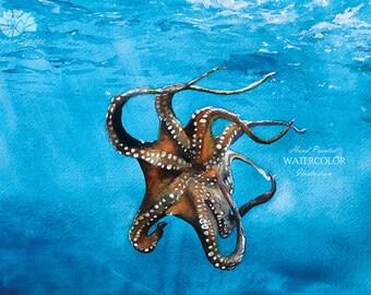 Underwater Octopus DIGITAL Watercolor Painting - Ocean Wall Art